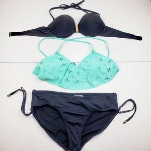 5/$25 Bikini Swimsuit 3 Piece Set Black Aqua